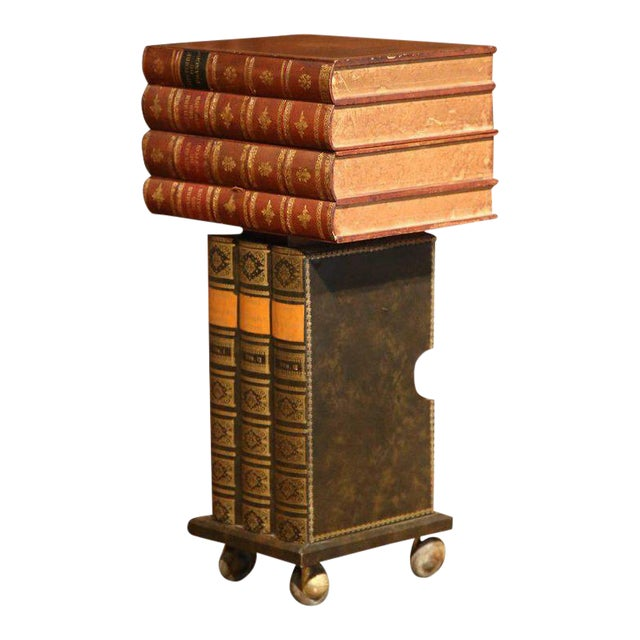 Mid-20th Century French Stacked Book End Table on Wheels For Sale