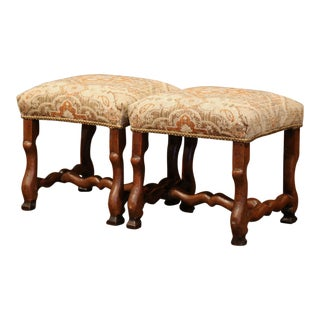 19th Century French Louis XIII Carved Walnut Os De Mouton Stools - a Pair For Sale