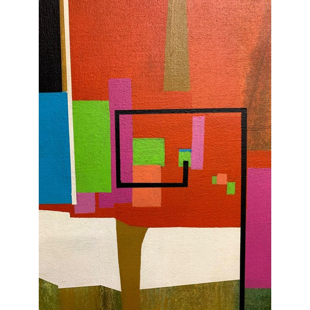 1970s Modernist Geometric Painting, 1971 For Sale - Image 5 of 13