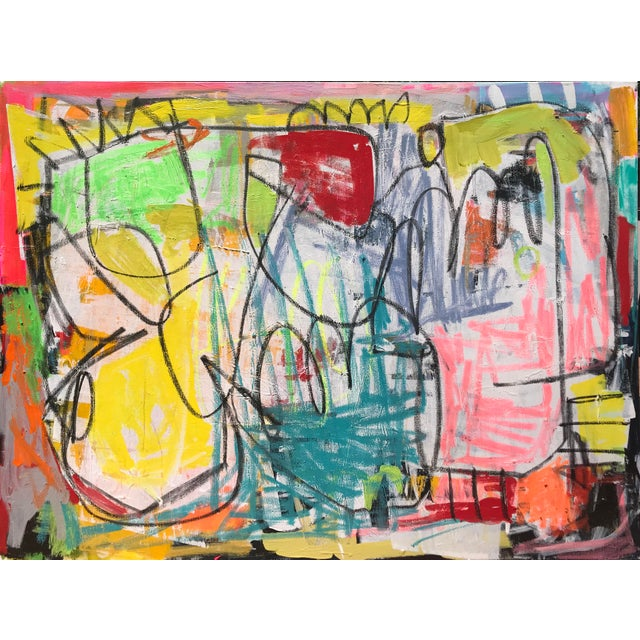 "Green ""Takes Village"" Contemporary Abstract Painting For Sale - Image 8 of 8"