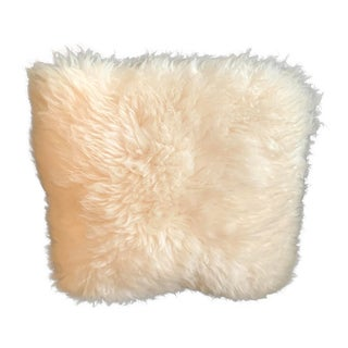 Vintage New Zealand Made Real Sheepskin Pillow With Poly Filling For Sale