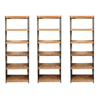 Burl Wood and Smoked Plexiglass Bookcases - Set of 3 For Sale