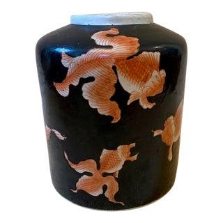 Vintage Chinoiserie Black Koi Fish Ginger Jar For Sale