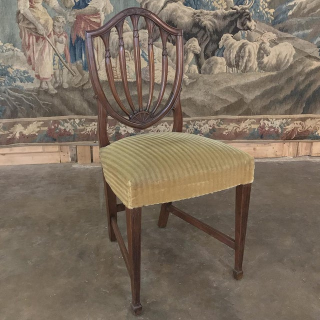 Green Set of 12 Antique English Sheraton Dining Chairs Includes Four Armchairs For Sale - Image 8 of 13