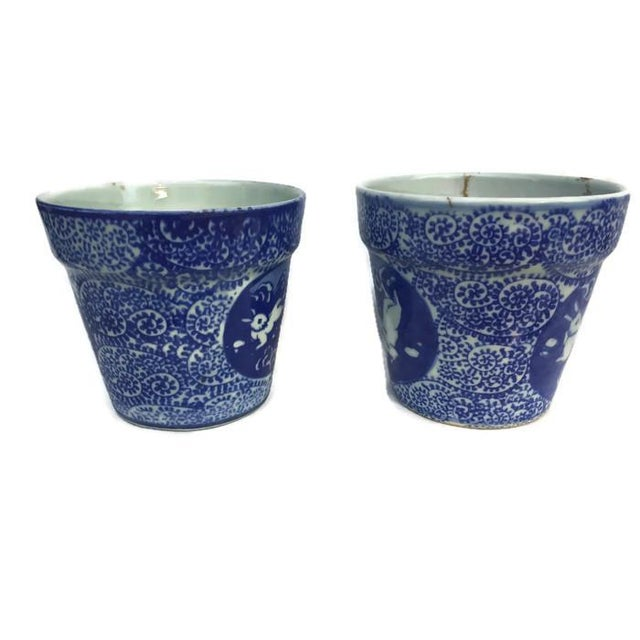 Asian Vintage Cobalt Blue Porcelain Chinoiserie Planters - A Pair For Sale - Image 3 of 7