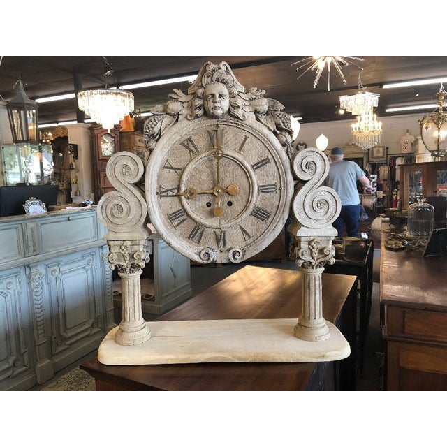 French Renaissance Architectural Carved Clock For Sale - Image 10 of 10