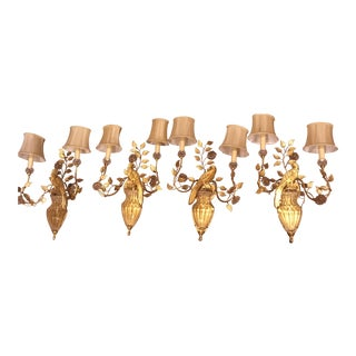 Gilded Maison Bagues Style Parrot Bird Sconces - Set of 4