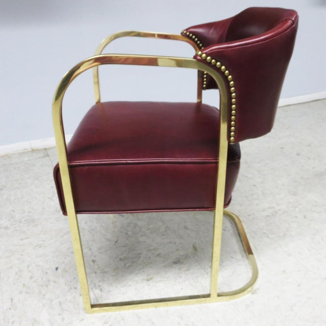 Burgundy Art Deco - Mid Century Lounge Chairs – Polished Brass – Leather For Sale - Image 8 of 9
