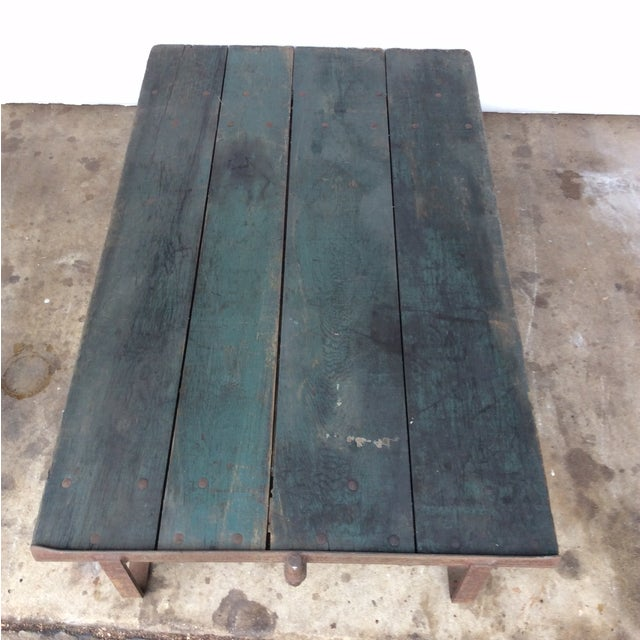 Industrial Vintage Railroad Cart Coffee Table For Sale - Image 3 of 9