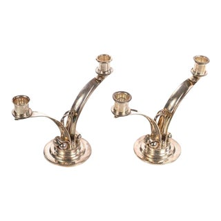 Sterling 925 Modernist Designer Candlesticks - a Pair For Sale