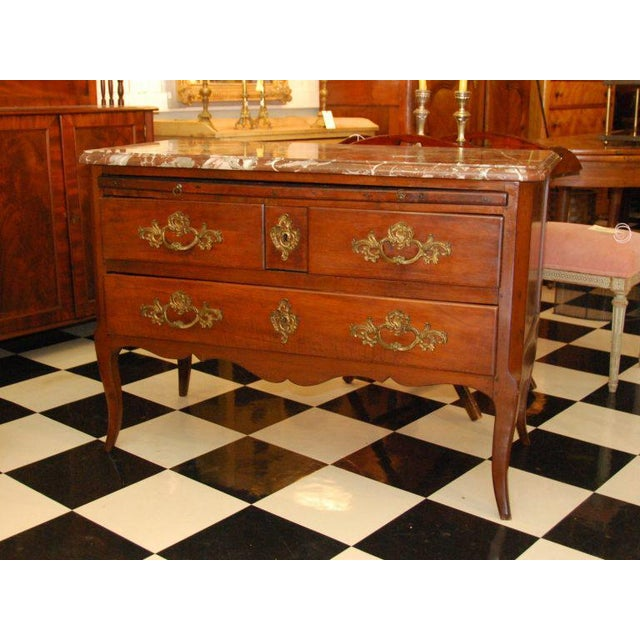 18th Century French Walnut Marble Top Commode For Sale - Image 4 of 8