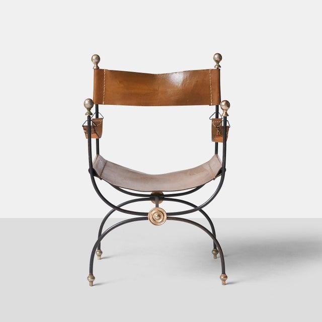 Jacques Adnet safari chair and ottoman set - Image 5 of 8