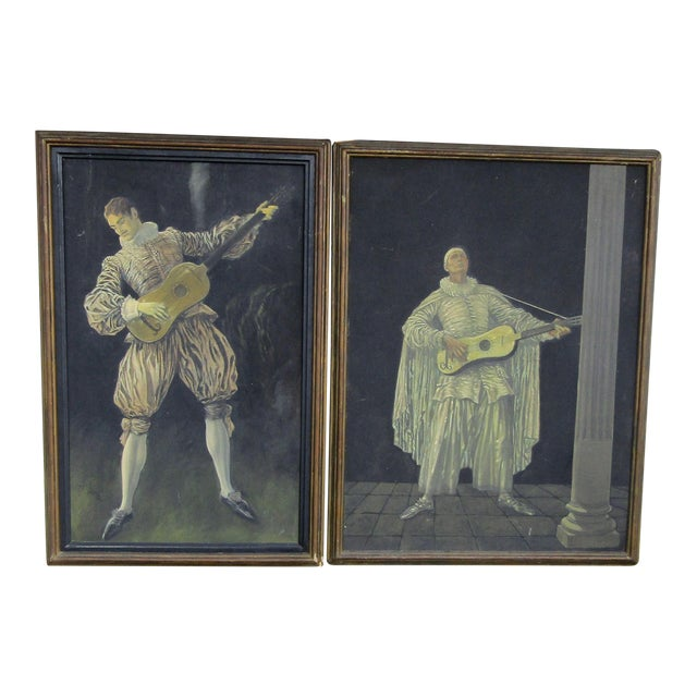Herman Heyer Vintage Musician Oil Panels - A Pair For Sale