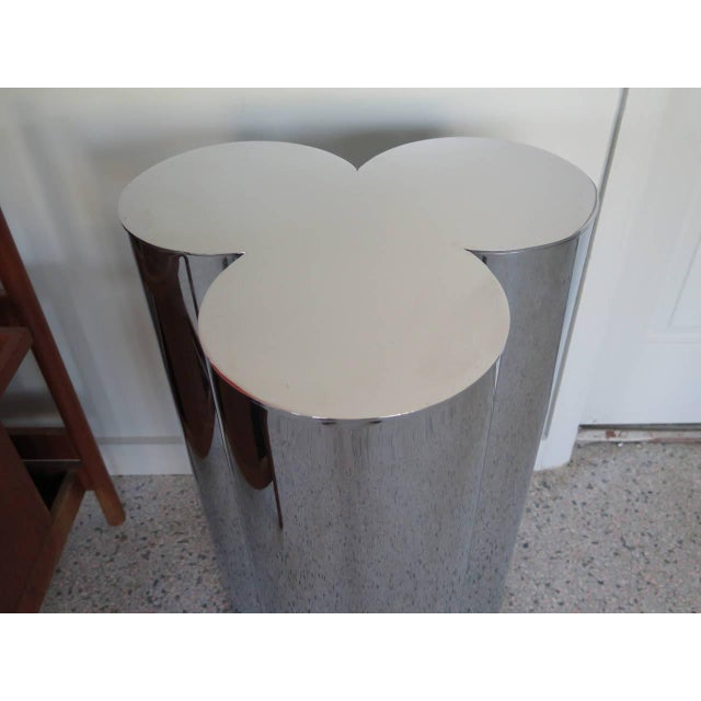 Contemporary 1960's Stainless Steel Pedestals by Mastercraft-a Pair For Sale - Image 3 of 6