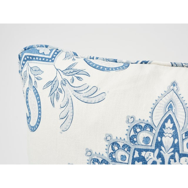 2010s Schumacher Double-Sided Pillow in Montecito Medallion Linen Print For Sale - Image 5 of 7