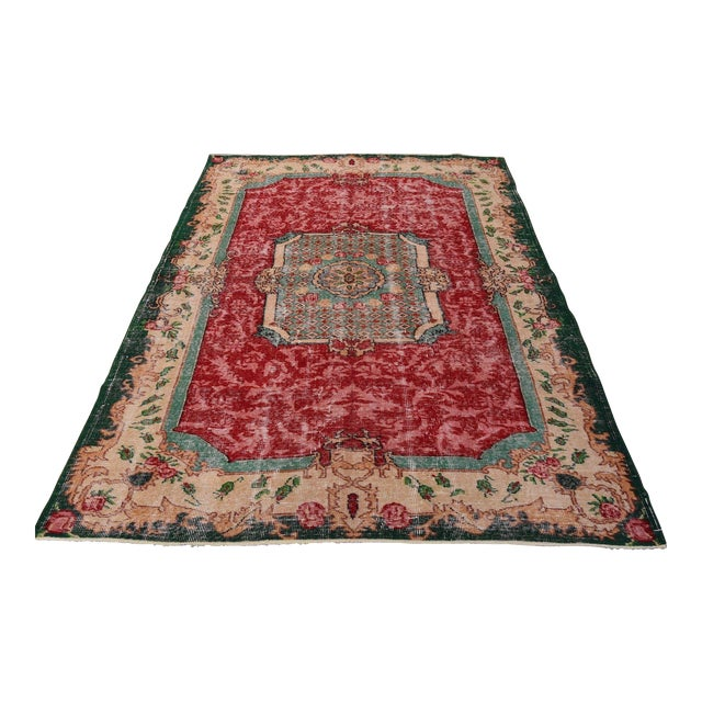 Distressed Turkish Handmade Area Rug - 5′2″ × 8′3″ - Image 1 of 6