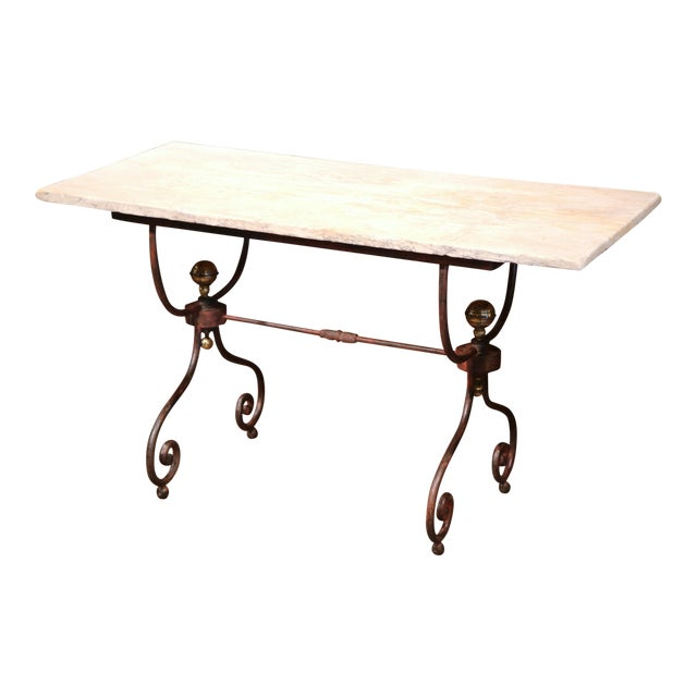 19th Century French Iron Bistrot Table With Stone Top and Bronze Mounts For Sale