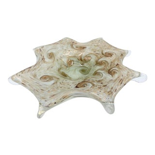 1950s Mid Century Italian Murano Pale Green and Copper Starry Night Bowl For Sale