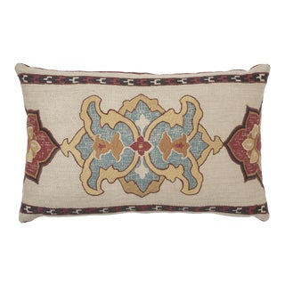 Schumacher Temara Embroidered Print Pillow in Spice For Sale