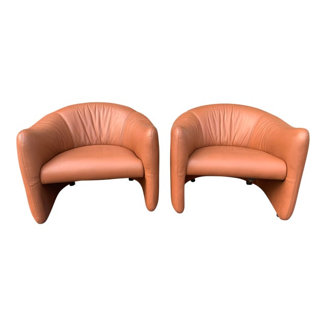 1980s Metropolitan Furniture Saddle Leather Club Chairs on Castors - a Pair For Sale