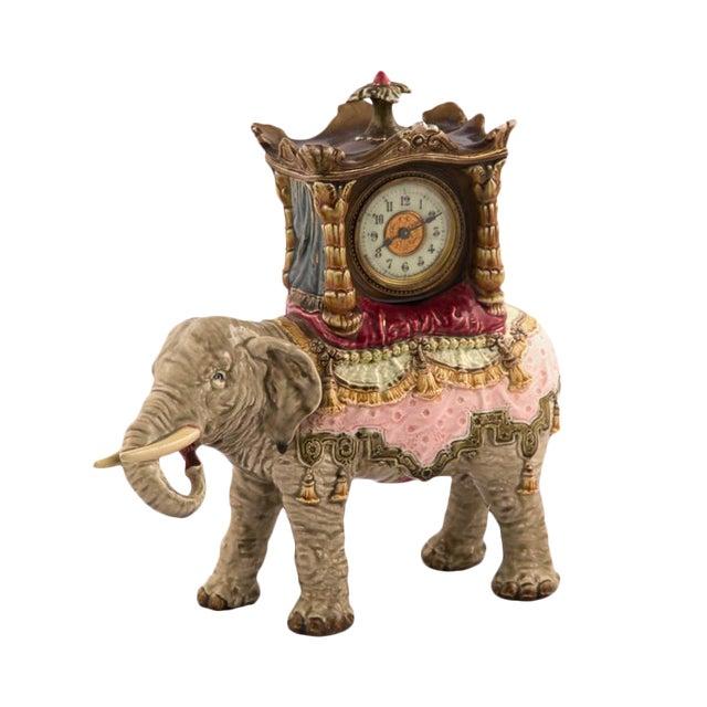 Bohemian Faience Elephant Form Mantle Clock Late 19th Century For Sale