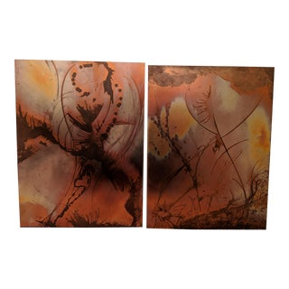 Etched Copper Wall Art Hangings - a Pair For Sale