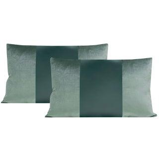 """12""""x18"""" Turkish Blue Velvet & Silk Panel Lumbar Pillows - a Pair For Sale"""
