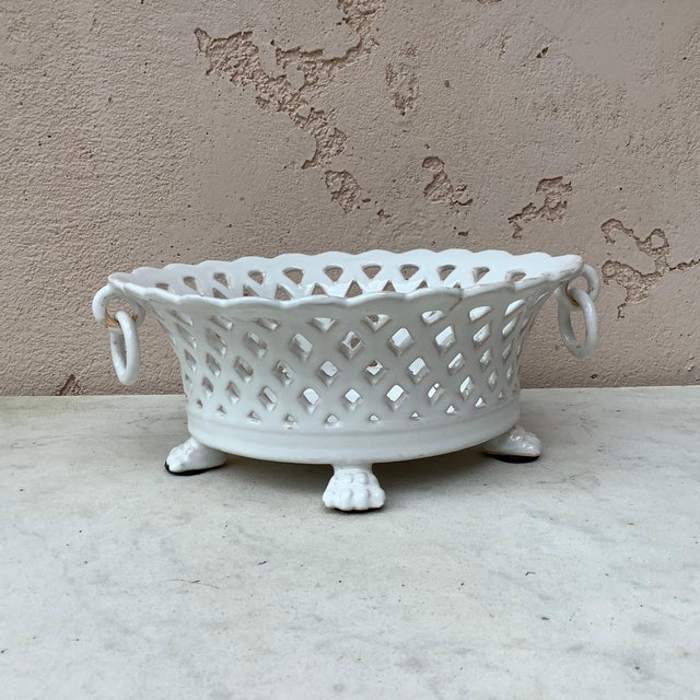 French white reticulated basket signed Emile Tessier, circa 1920.