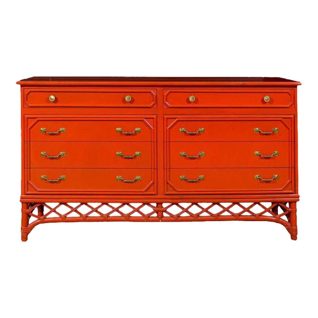 Wonderful Vintage Ficks Reed 8 Drawer Chest/Buffet For Sale