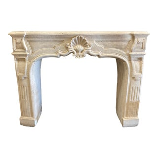 Hand Carved Limestone Mantel For Sale
