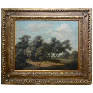 Mid-19th Century Landscape Oil on Wood Trees in the Woods by John Kensett For Sale