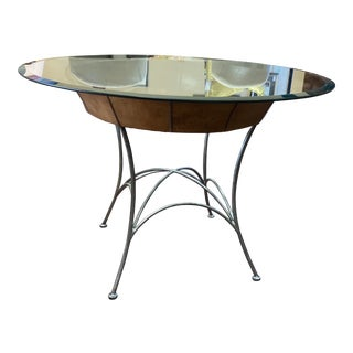 Bernhardt Iron Base Glass Top Table For Sale