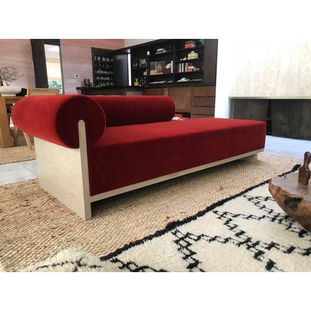 Modern Velvet Chaise Sofa - Image 3 of 7