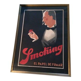 20th Century Art Deco Advertising Poster for a Spanish Cigarette Paper Company For Sale