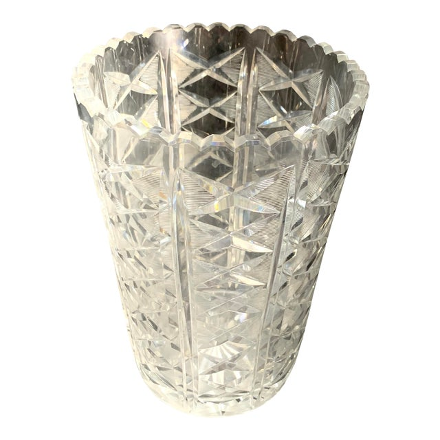 "Mid Century 10"" Cut Crystal Vase For Sale"