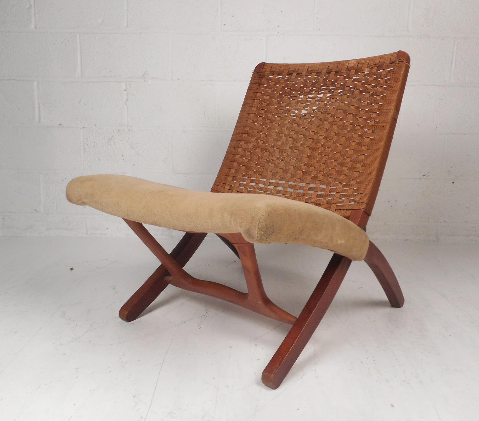 Bon Mid Century Modern Hans Wegner Style Folding Rope Chair For Sale   Image 11  Of