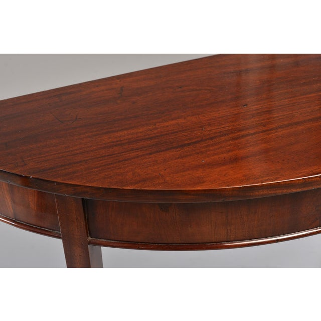 English Mahogany Demi Lune Tables - a Pair For Sale - Image 11 of 13