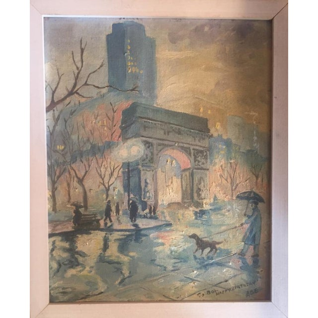 Mid 20th Century Landscape Painting of Washington Square Park in the Rain For Sale - Image 6 of 6