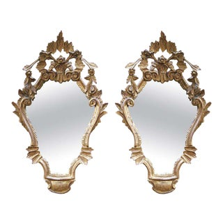 Giltwood Venetian Style Mirrors - A Pair For Sale