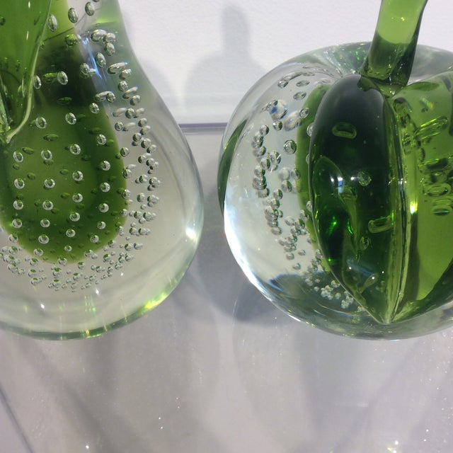 1950s 1950s Mid-Century Modern Green Murano Glass Pear and Apple Sculptures - 2 Pieces For Sale - Image 5 of 6