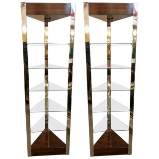 Mid-Century Modern Lighted Étagères or Shelves Rosewood Chrome and Glass, a Pair For Sale