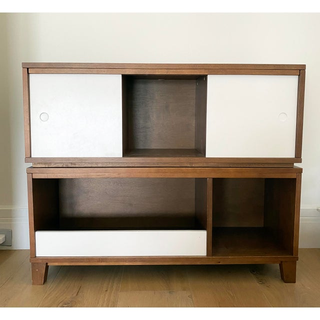 Crate & Barrel Mid-Century Modern Style Walnut Toy Box and Book Shelf For Sale In Miami - Image 6 of 6