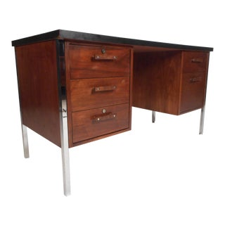 Mid-Century Modern Desk by Design Craft With a Finished Back