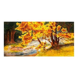 'Autumn Landscape, Liquid Gold', Large Oil, 1975 For Sale
