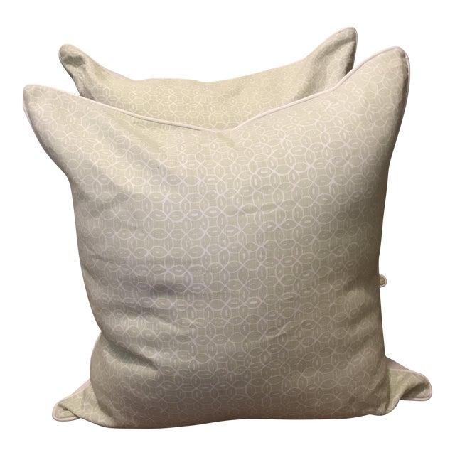 Quadrille Melong Celadon Linen Pillows - A Pair For Sale