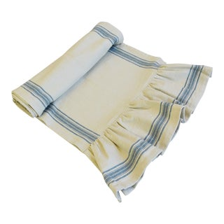 "French Farmhouse Cream/Aqua Striped Table Runner W/ Pleated Ends 110"" Long For Sale"