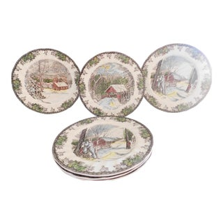 Vintage Johnson Bros. Friendly Village Seasonal Dinner Plates - Set of Six For Sale