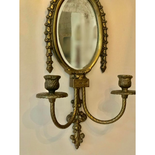 Vintage Brass Mirrored Wall Sconce For Sale - Image 4 of 10