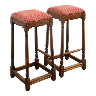 Pair French Country Red Bar Stools Made Italy ~Out of Dave Mustaine's 1of2 For Sale