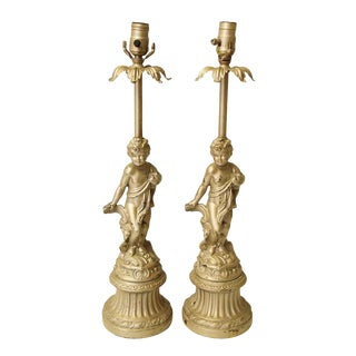 Mid 20th Century Gold Finish Cherubic Table Lamps - a Pair For Sale